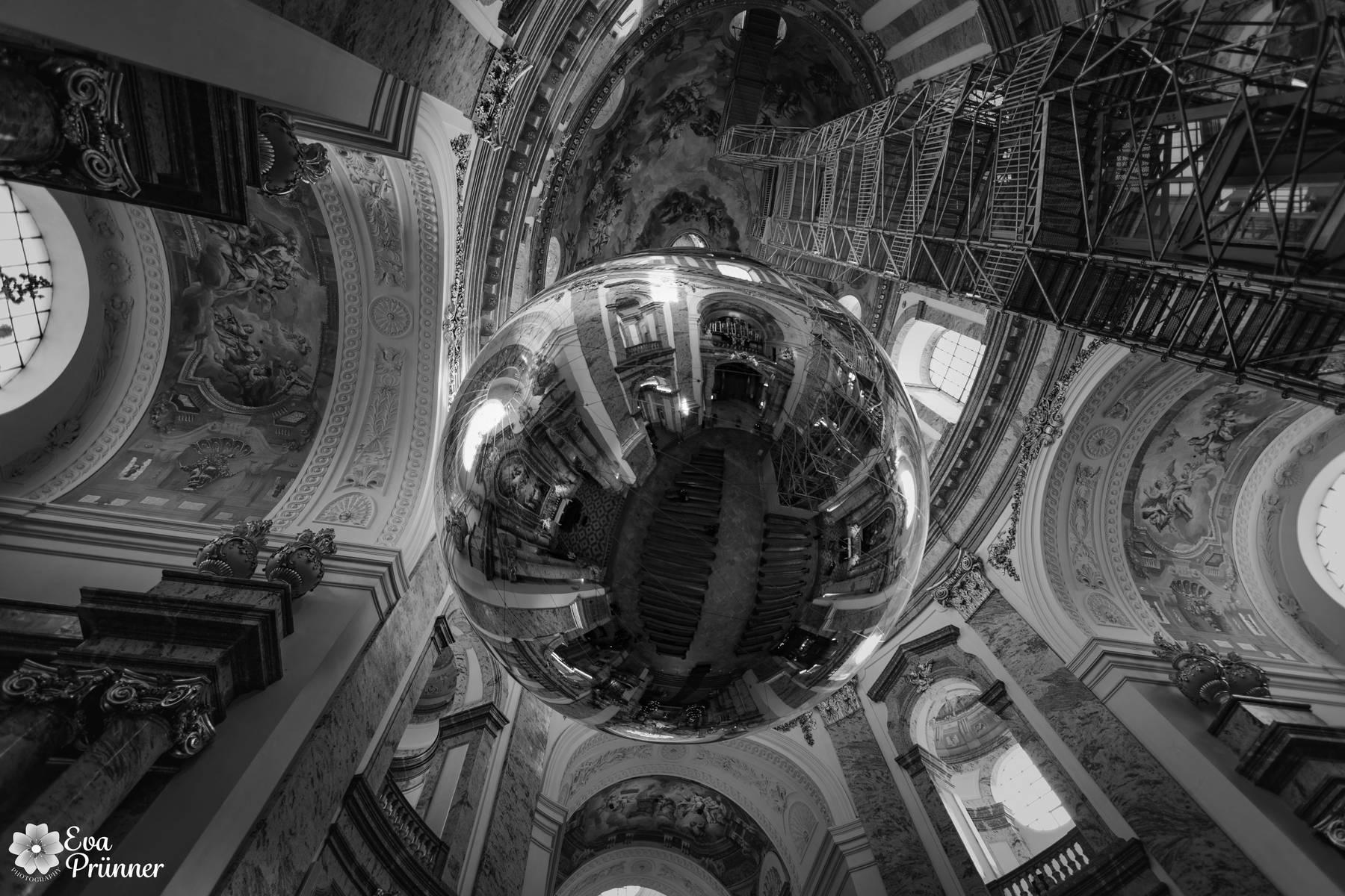 Schwarz Weiß, Monochrom, Kugel, Kirche, Karlskirche, Wien